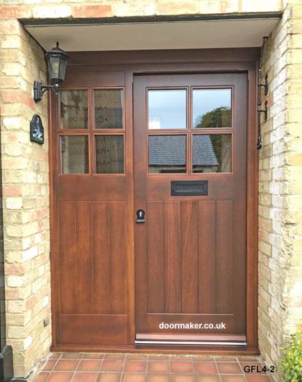 iroko 4 pane door & Oak Doors Glazed Framed Ledged