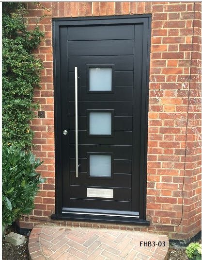 3 pane contemporary door black