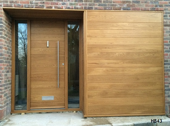 contemporary oak door and side panelling