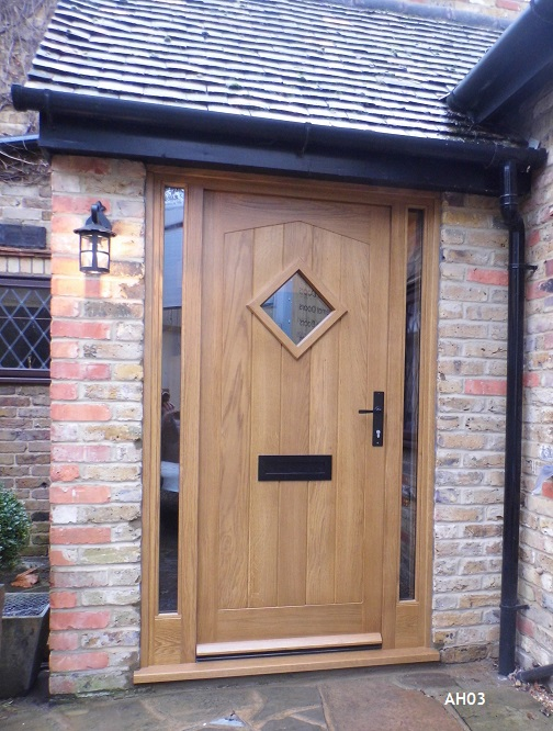 oak door angled head