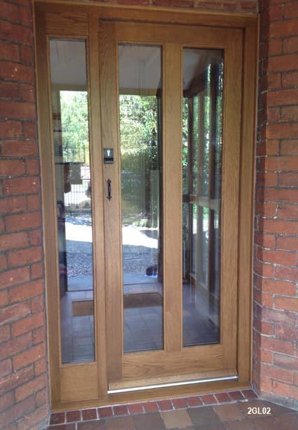 oak door 2 glazed panes and sidelight